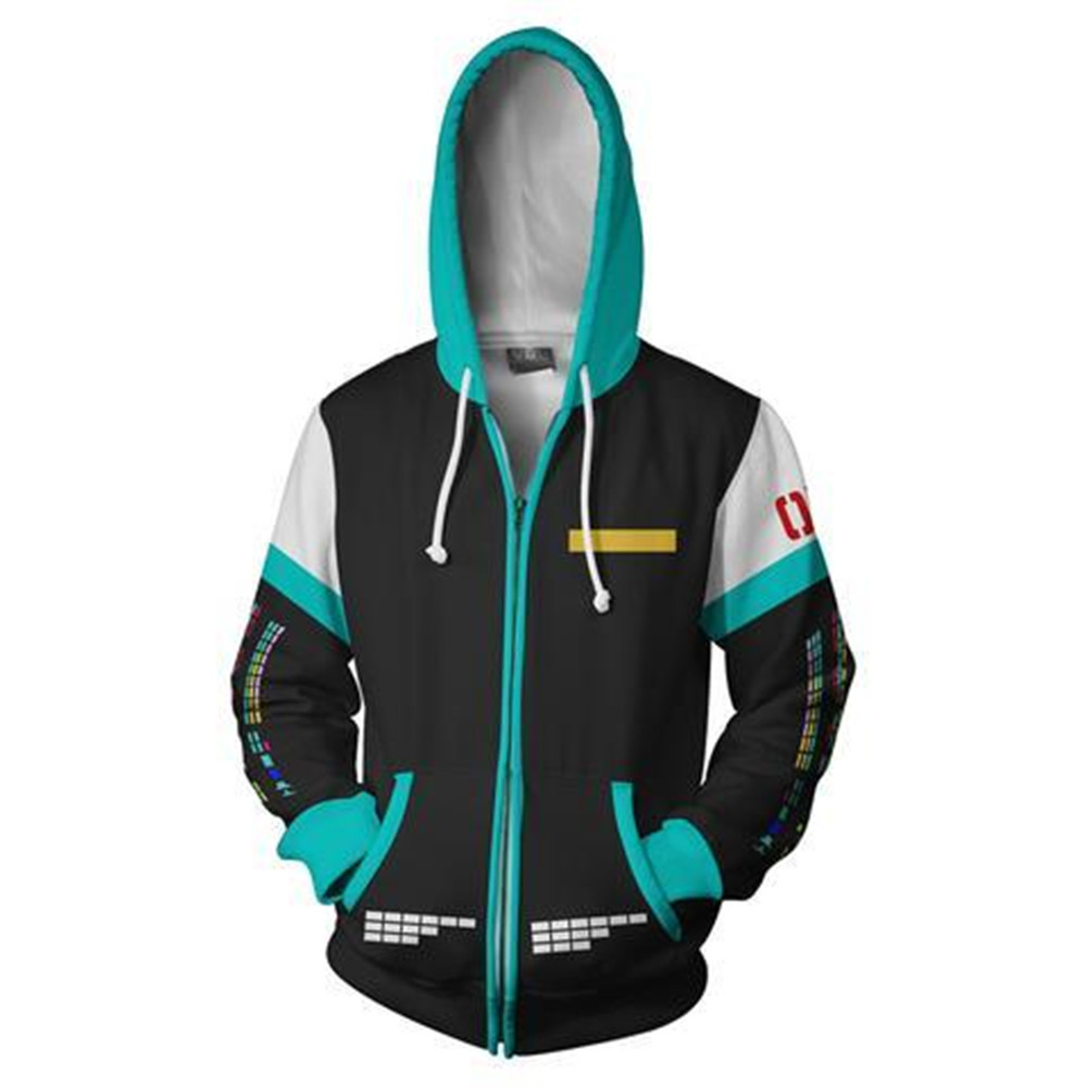 New Hatsune Miku Vocaloid Hoodies Cosplay Hoodie Miku Jackets Casual Sweatshirt Thin Zipper Coat Hooded Hoodies 3D Hoodies Tops