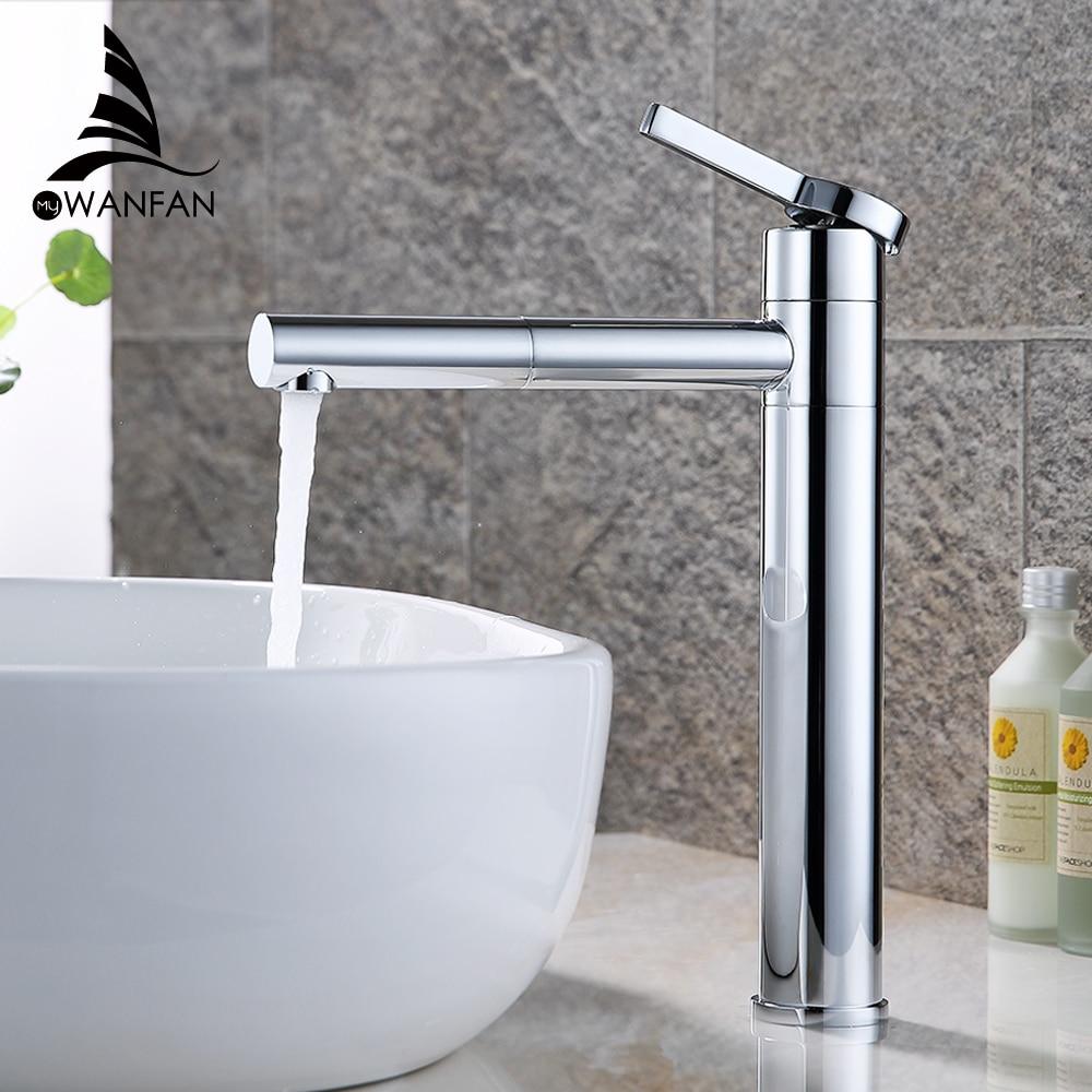 Basin Faucets Brass Bathroom Faucet Vessel Sinks Mixer Vanity Tap Swivel Spout Deck Mounted White Color Washbasin Faucet LT-701B