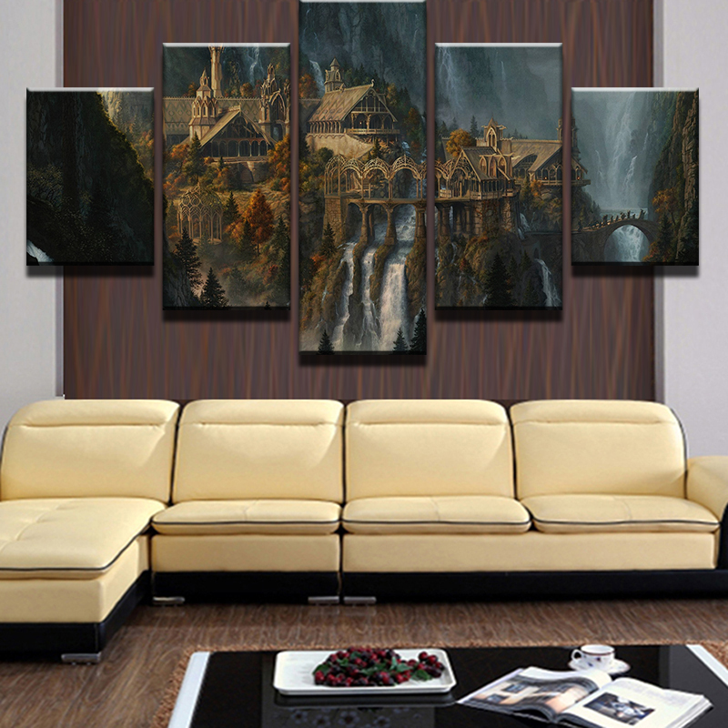5 Pieces Mysterious Mountain Castle Waterfall Landscape Modern Home ...