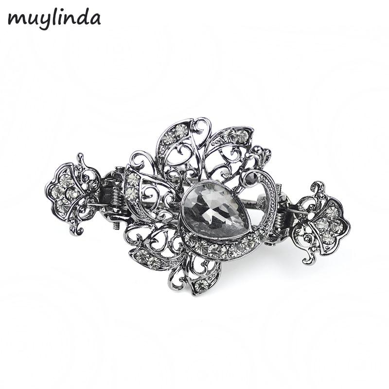 Retro Kristal Berlian Imitasi Peacock Jepit Rambut Jepit Rambut Perhiasan Logam Aksesoris Rambut Kecil Wanita