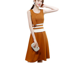 3563b181b B2316 2019 a primavera eo verão nova versão Coreana mulheres mostram fino  tendência da moda sem mangas vestido de lazer feminino.