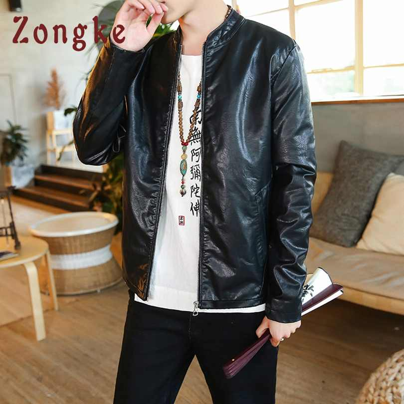 fb58a844f Zongke Chinese Style Embroidery Leather Jacket Men Fashions Hip Hop  Streetwear Bomber Jacket Men Coat Men Jacket Coat 5XL 2019