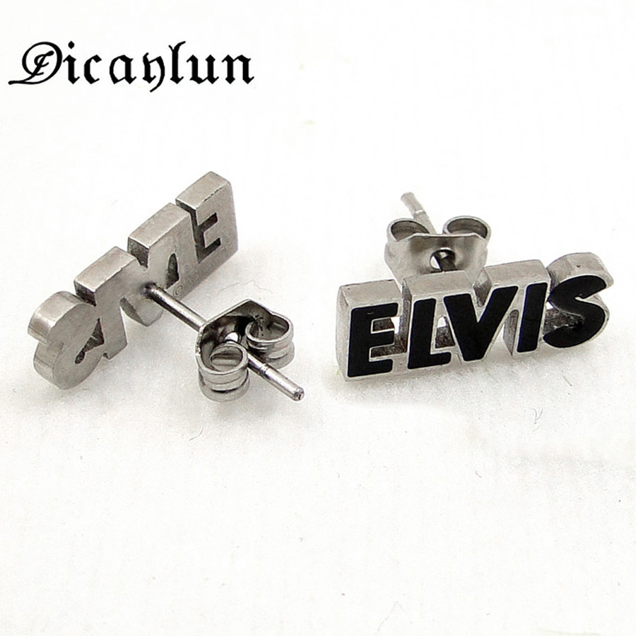DICAYLUN Stud <font><b>Earrings</b></font> Stainless Steel Jewelry Black Letters Star Elvis Statement Earing Fashion <font><b>Unisex</b></font> <font><b>For</b></font> Women <font><b>Men</b></font> 2018 image