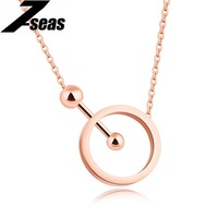7SEAS Simple Choker Necklaces For Women Stopwatch Design Circle Pendant Rose Gold Color Smooth Lady Jewelry