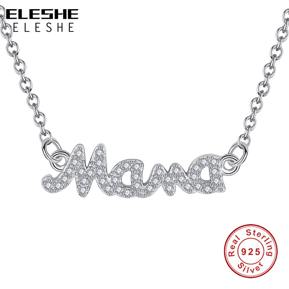ELESHE Delicate Letter Mama Pendant Necklace Mothers Love Pendant Jewelry 925 Sterling Silver Necklace Mothers Day Jewelry GiftELESHE Delicate Letter Mama Pendant Necklace Mothers Love Pendant Jewelry 925 Sterling Silver Necklace Mothers Day Jewelry Gift