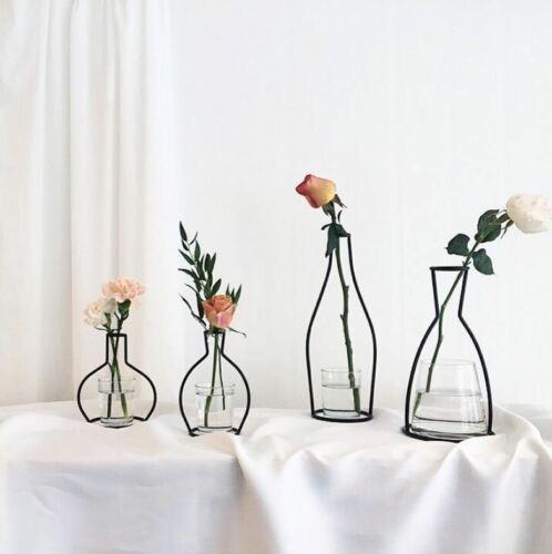 Image 5 - Creative Art Style Retro Iron Line Flowers Vase Metal Plant Holder Modern Solid Nordic Styles Iron Vase Home Art Garden Decor-in Vases from Home & Garden