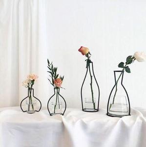Image 5 - Creative Art Style Retro Iron Line Flowers Vase Metal Plant Holder Modern Solid Nordic Styles Iron Vase Home Art Garden Decor