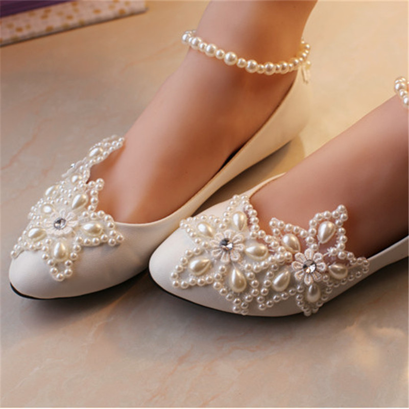 Full Sizes Ivory White Pearls Flowers Wedding Dance Party Flatswomen Bridal Dress Shoeswedding Accessoriesgift For Her In Womens Flats From Shoes On
