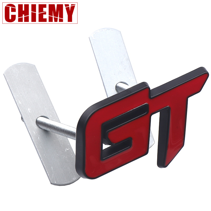Car Styling 3D Metal GT Emblem Car Front Grille Badge Decal Stickers Accessories For Ford KIA Volkswagen Honda Auto Accessories