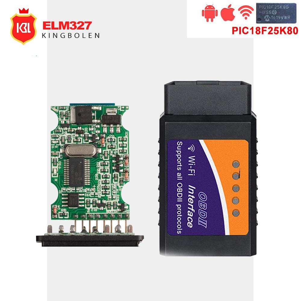 ELM327 OBD2 Bluetooth/WIFI V1 5 Car Diagnostic Tool ELM 327 OBD II Scanner  Chip PIC18F25K80 Work Android/IOS/Windows 12V Diesel - TechShops