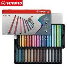 40 Colors Stabilo Pen 68 Coloring Felt-tip Art Marker Premium Watercolor Professional Drawing Graphic 1 mm Metal tin Set