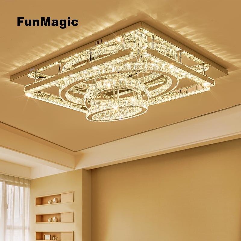 Modernas luces LED cuadradas de cristal para techo, iluminación para sala de estar, accesorio montado en el techo, lámpara colgante ovalada de decoración