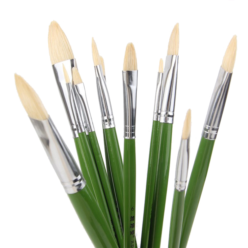 6pcs/Set,Direct Manufacturers Pig Bristle Artist Oil Painting Brushes Tongue Peak Painting Brush Set Drawing Art Supplies