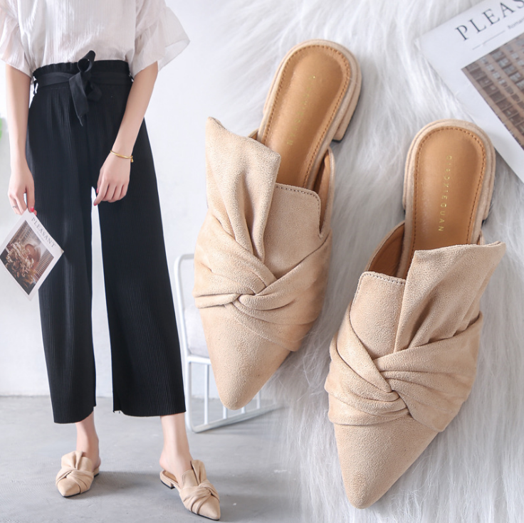 Autumn Women Slippers Flock Bowtie Female Mules Fashion Low Heels Shoe Pointed Toe Plus Size Elegant Woman Slipper