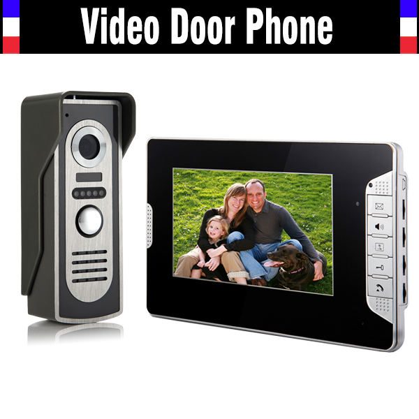 7 Inch Monitor Video Door Phone Doorbell Intercom System Night Vision waterproof alloy camera for villa home video Call Intercom diysecur 7inch video door phone doorbell video intercom metal shell camera led night vision 1 monitor black for home office