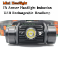 3W Mini IR Sensor Headlight Induction Usb Rechargeable Lantern Headlamp 350 Lumen1Mode Flashlight Head Torch by 1x 18650 Battery