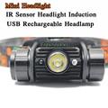 3W Mini IR Sensor Headlight Induction Usb Rechargeable Lantern Headlamp 350 Lumen1Mode Flashlight Head Torch by 1x 18650 Battery