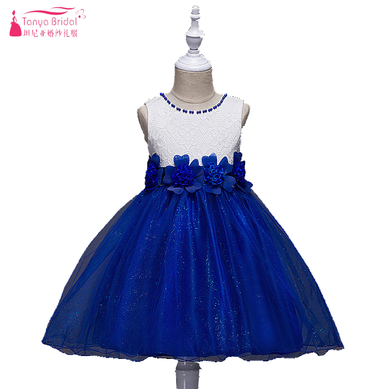Sparkly   Flower     Girls     Dresses   White And Blue Lace tulle Ball Gowns with Bow holy communion   dresses   Heigth 110-170 cm ZF011