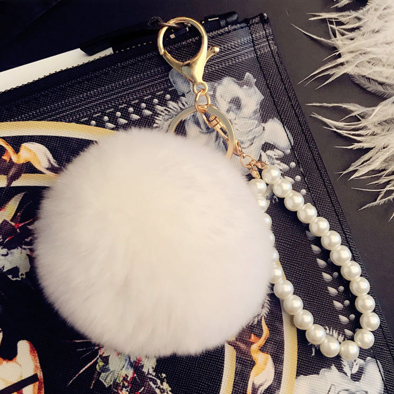 RE Fashion pearl faux rabbit fur pompom key chain trinkets women bag charm car pendant keychains holder fluffy ball key ring P40 in Key Chains from Jewelry Accessories