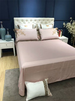 Luxury Egyptian cotton gold embroidery Pink lady style bedding sets queen king size wedding duvet cover bed sheet set 38