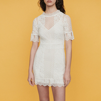 2019 High Quality Runway Dress Women Sexy Embroidery Lace Mini Dresses Female Holiday Party Whit Dress