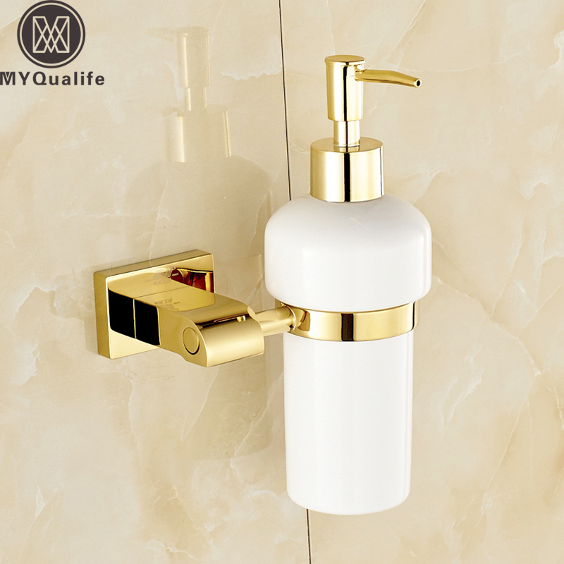 Wall Mounted Golden Finish Liquid Soap Dispenser Wall Mounted Ceramic Bottle Bathroom Kitchen Hand Liquid Soap Dispenser Lotion wall mounted elbow hand sanitizer soap dispenser used in hospital for holder