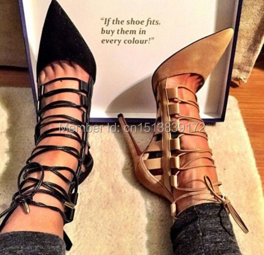 e3984af8e96 Women new design sumptuous suede leather lace-up strappy sandals pointed  toe cage sandal shoes dropship cheap price plus size