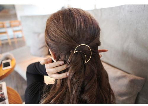 HTB1PhT1PpXXXXaYapXXq6xXFXXXM Chic Gold/Silver Plated Metal Triangle Circle Moon Hair Clip For Women - 4 Styles