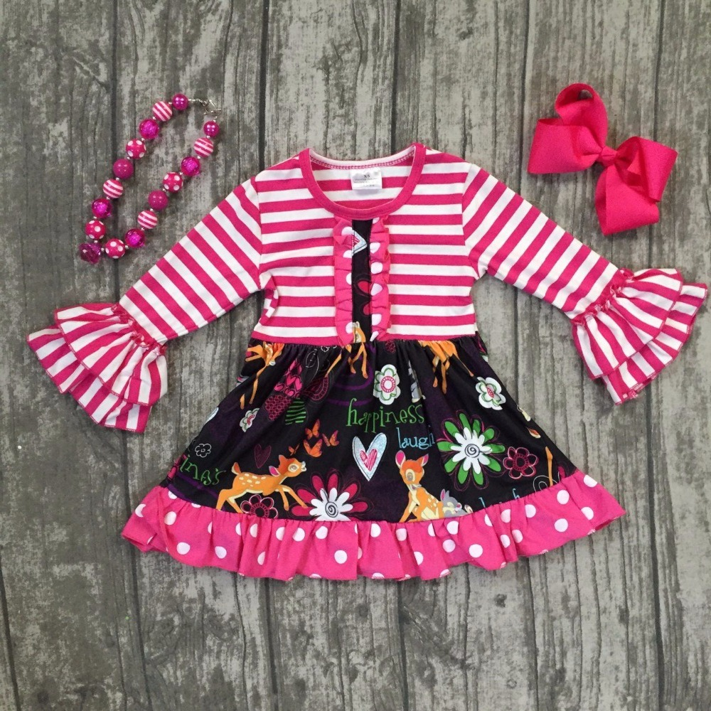 Spring baby girls cotton dress hot pink striped floral happiness ruffle long sleeve children clothes boutique match accessories happiness basics толстовка