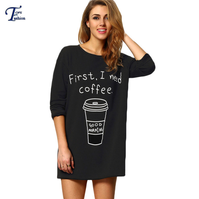 Women Black Crew Neck Coffee and Letters Print Tops Casual Spring Streetwear Three Quarter Length Sleeve Loose T-Shirt