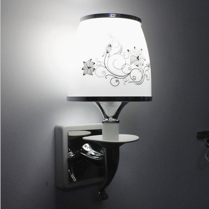 Modern simple wall lamp LED single headlight bedroom bedside aisle lights warm creative lighting fixture led lamps wall light 2 lights modern creative metal wall light simple glass shade wall sconces fixtures lighting for hallway bedroom bedside wl282 2
