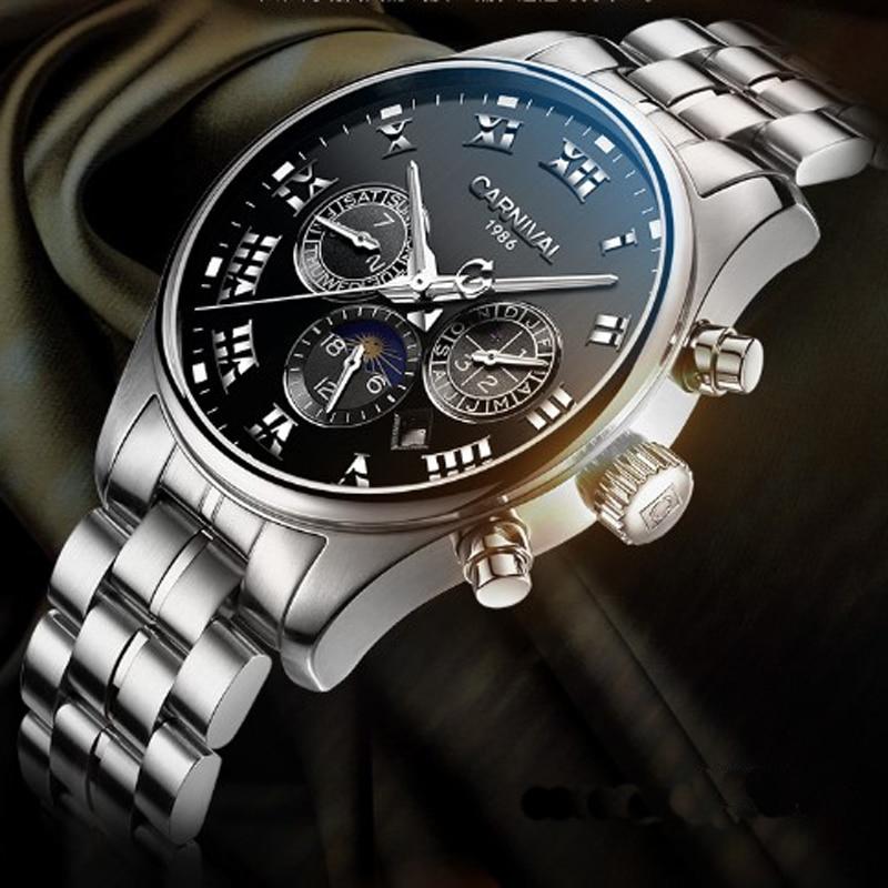 كرنفال الساعات الرجال سويسرا الفاخرة العلامة التجارية القمر المرحلة التلقائية الميكانيكية الرجال ووتش الصلب كاملة متعددة الوظائف للماء 2019-في الساعات الميكانيكية من ساعات اليد على  مجموعة 3