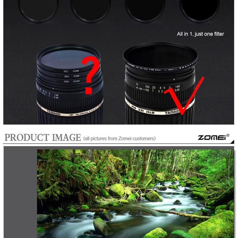 Zomei 49/52/55/58/62/67/72/77/82 Fader Variable ND Filter Adjustable 9-Stops ND2-400 Neutral Density Lens Filter for DSLR Camera 6