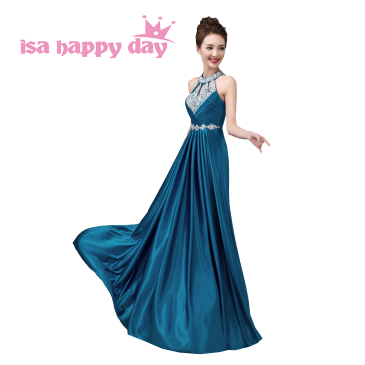 elegant party sexy   dress   female hot sale 2019 long sexy   dress   gown formal blue satin halter neck   bridesmaid     dresses   H3625