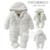 0-18 M Do Bebê da menina do menino Macacão 2016 Rússia outono Inverno Crianças Manga Longa Velo Coral Infantil Macacão Com Capuz macacão