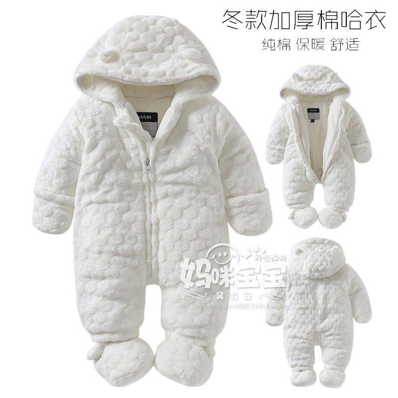0-18M Baby girl boy Rompers 2016 Russia autumn Winter Kids Long Sleeve Coral Fleece Infant Rompers Hooded Jumpsuit
