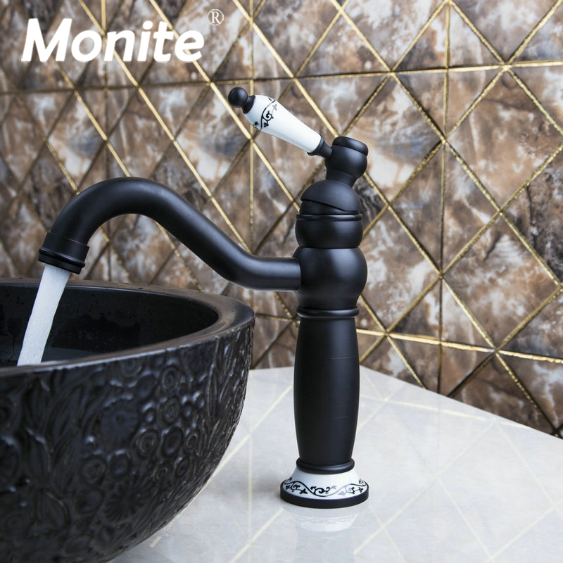 Oil Rubbed Bronze Bathroom Sink Basin Faucet Mixer Tap Single Ceramics Handle Deck mounted Faucet Hot & Cold Mixer Tap widespread hot cold water deck mounted oil rubbed bronze red sink bathroom vanity mixer tap faucet