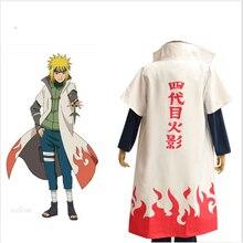 Аниме Наруто Косплэй костюм четвертая Хокаге Namikaze Минато Единая плащ наряд Косплэй халат накидка унисекс