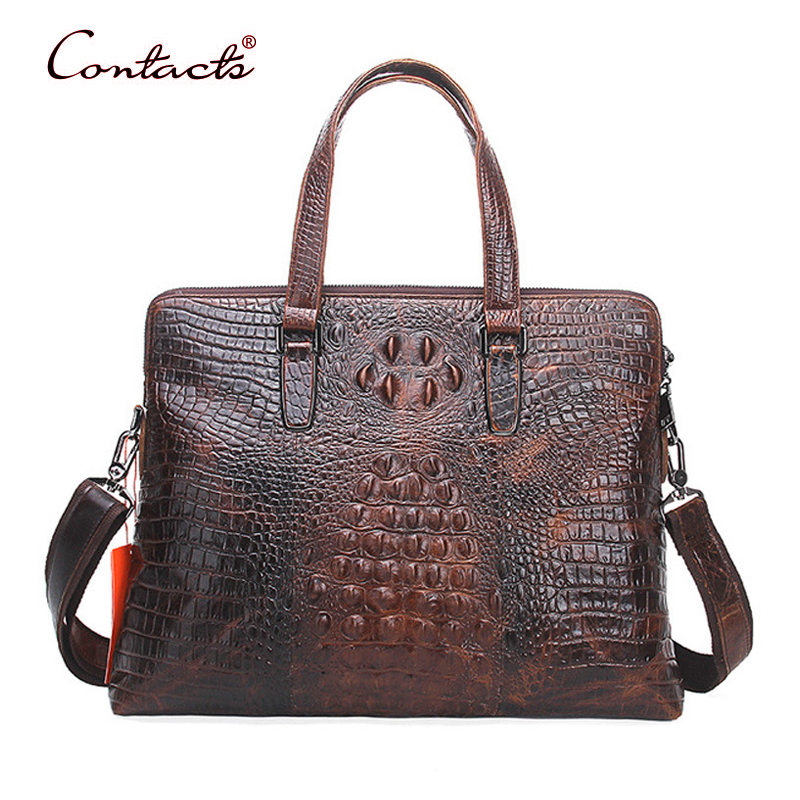 CONTACT'S Men Bag Briefcase Genuine Leather Crossbody Shoulder Messenger Travel Bags Male Brand Business 2017 New Crocodile Sac 2017 new brand crocodile genuine leather men travel bags leisure laptop solid men shoulder bag business men messenger bags a1368