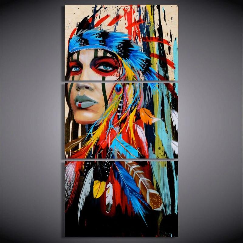 100% peint à la main art moderne peintures à l'huile les indiens plume peinture toile mur art pour salon livraison gratuite