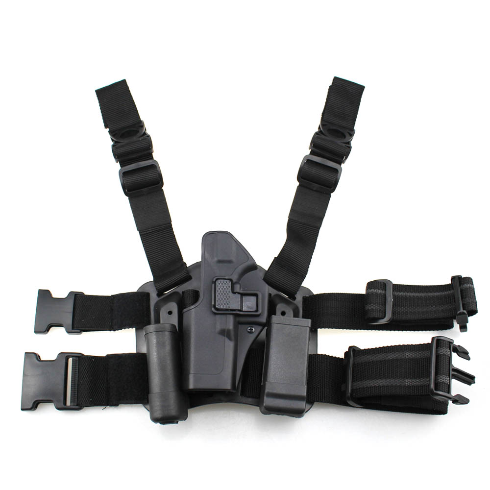 Tactical Glock Leg Holster Left Hand Paddle Thigh Belt Drop Pistol Gun Holster w/ Magazine Torch Pouch for Glock 17 19 22 23 31 ankle holster for concealed carry elastic secure strap leg pistol gun holster leg pocket revolvers handgun pouch