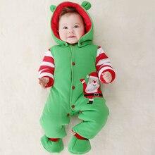 2016 Одежда Для новорожденных младенца хлопка толщиной с капюшоном ребенка в тепле осенью и зимой одежда ползунки восхождение одежды Рождество стиль