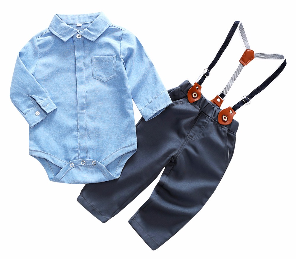 Baby Boys Clothes Newborn Baby Long Sleeve Sets Gentleman Formal Wear Infant Shirt+Bowtie+Suspender Trousers Wedding Party Suits