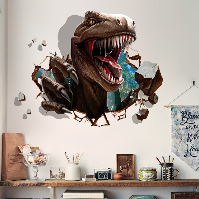 Grand Three Dimensional Dinosaur Bedroom Wall Sticker Wall Decorations Living  Room Decoration 3D Stickers Muraux