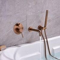 Wall Mounted Brushed Gold Bathtub Shower Set Bathtub Hot Cold 2Function Mixer Rose Gold Bathroom Shower Faucet Bath Spout Shower