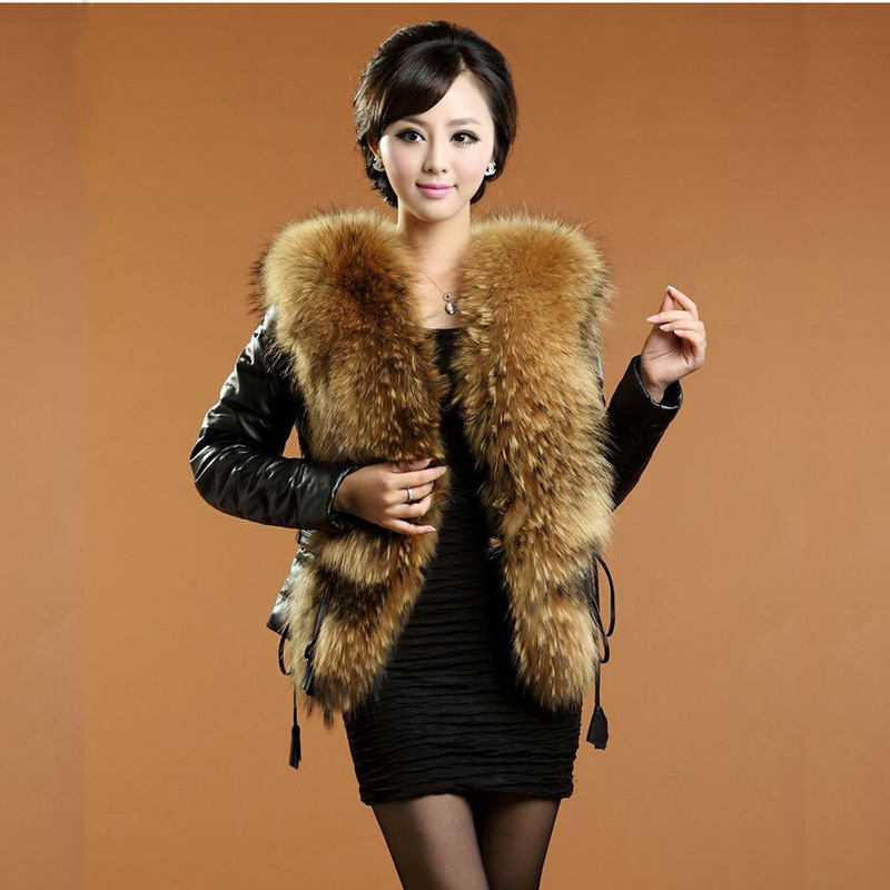 Plus Size 6XL   Leather   Coat Women   Leather   Jacket Women   Leather   Jacket Motorcycle Jacket Fur Collar Black Winter Coat Women H206