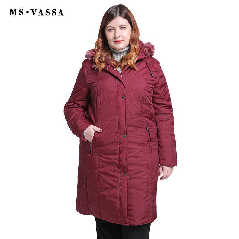 e0eb9b6bc04 ... MS VASSA Большие размеры парки женские 2018 Новые пальто женские  длинные куртки с отложным воротником с ...