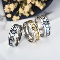 Fashion  Stainless Steel  Women Men Bohemian Vintage Butterfly Totem Rings  Jewelry Delicate 3