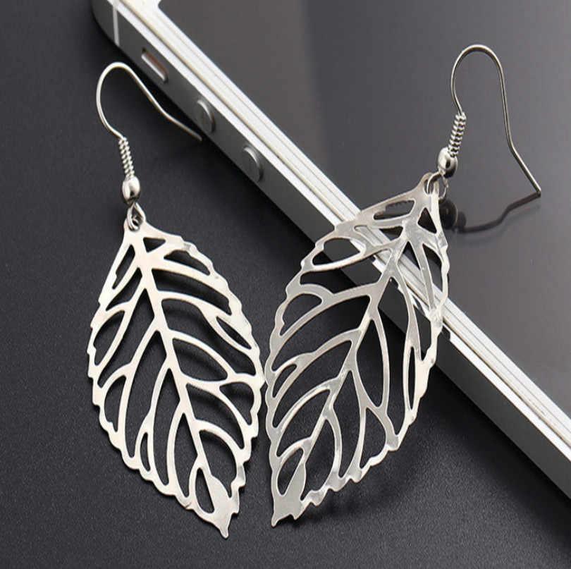 2018 Women's Pendant Earrings Bohemian Tassel Earrings 2018 Fashion Jewelry Metal Leaf Long Statement Female Earrings