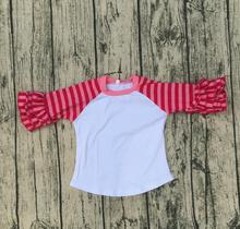 Breathable Baby Casual Apparel Baby Long Sleeve Baby Girl Pink Red Stripe Icing Raglan Sleeve Shirt